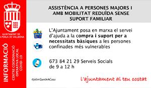 La Pobla de Vallbona activa l'ajuda a persones vulnerables